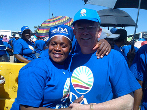 Toby Chance with DA supporters at the DA 6 Million Real Jobs march in Johannesburg, 13th February 2014